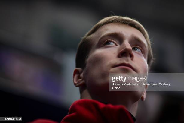 Alexander Samarin of Russia prepares in the Men's Free Skating during day 2 of the ISU Grand Prix of Figure Skating Rostelecom Cup at Megasport Arena...