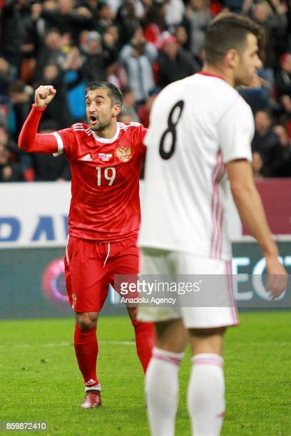 Alexander Samedov of Russia celebrates after scoring a goal during the International friendly soccer match between Russia and Iran at Kazan Arena in...