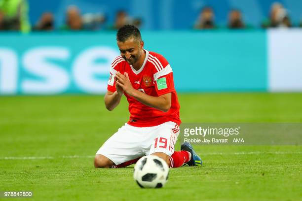 Alexander Samedov of Russia celebrates at the end of the 2018 FIFA World Cup Russia group A match between Russia and Egypt at Saint Petersburg...