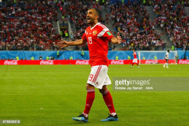 Alexander Samedov of Russia celebrates during the 2018 FIFA World Cup Russia group A match between Russia and Egypt at Saint Petersburg Stadium on...