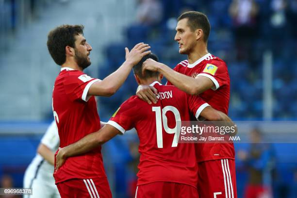 Alexander Samedov of Russia celebrates during the Group A FIFA Confederations Cup Russia 2017 match between Russia and New Zealand at Saint...