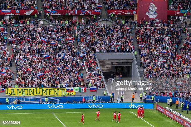 Alexander Samedov of Russia celebrates his goal with team mates during the FIFA Confederations Cup Russia 2017 group A football match between Mexico...