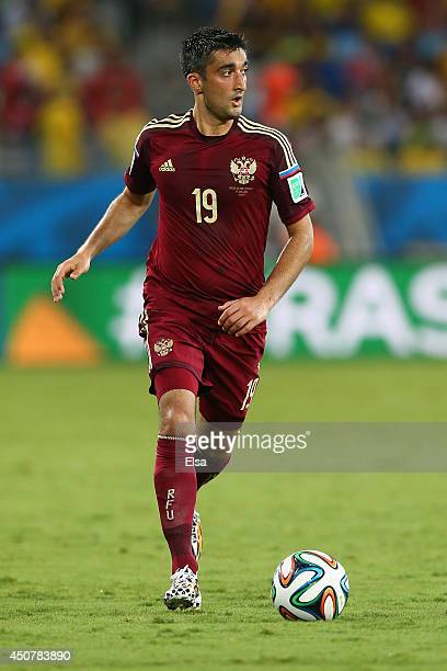 Alexander Samedov of Russia controls the ball during the 2014 FIFA World Cup Brazil Group H match between Russia and South Korea at Arena Pantanal on...