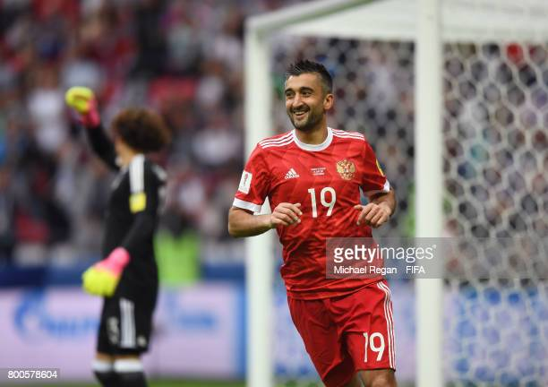 Alexander Samedov of Russia looks on during the FIFA Confederations Cup Russia 2017 Group A match between Mexico and Russia at Kazan Arena on June 24...