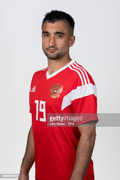 Alexander Samedov of Russia poses for a portrait during the official FIFA World Cup 2018 portrait session at Federal Sports Centre Novogorsk on June...