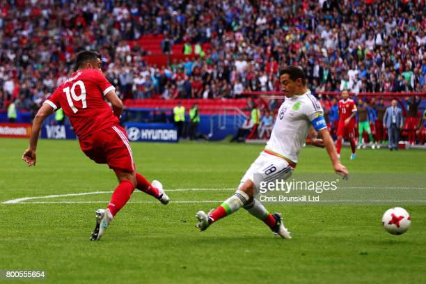 Alexander Samedov of Russia scores the opening goal during the FIFA Confederations Cup Russia 2017 Group A match between Mexico and Russia at Kazan...