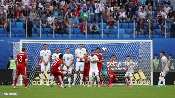 Alexander Samedov of Russia takes a freekick during the FIFA Confederations Cup Russia 2017 Group A match between Russia and New Zealand at Saint...