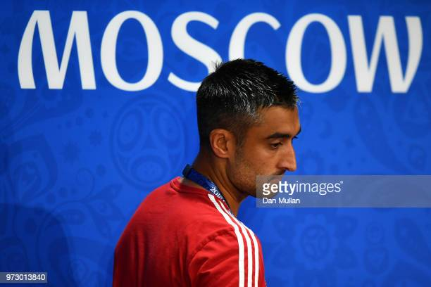 Alexander Samedov of Russia talks to the media during a Russia press conference ahead of the 2018 FIFA World Cup opening match against Saudia Arabia...