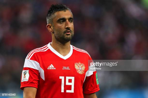 Alexander Samedov of the Russia national football team reacts during the 2018 FIFA World Cup match first stage Group A between Russia and Egypt at...