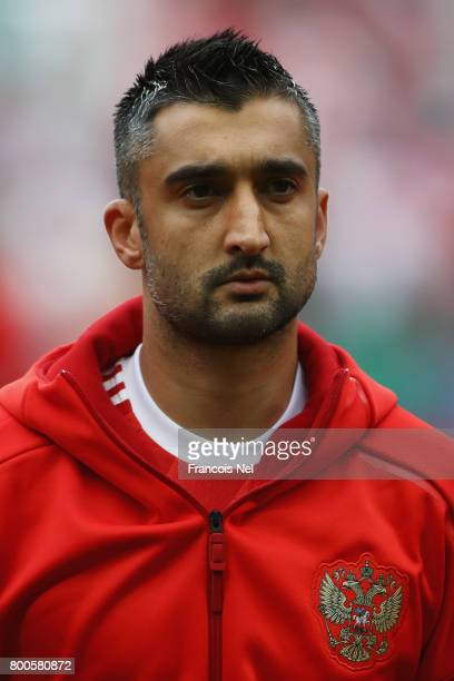 Alexander Sameov of Russia lines up prior to the FIFA Confederations Cup Russia 2017 Group A match between Mexico and Russia at Kazan Arena on June...