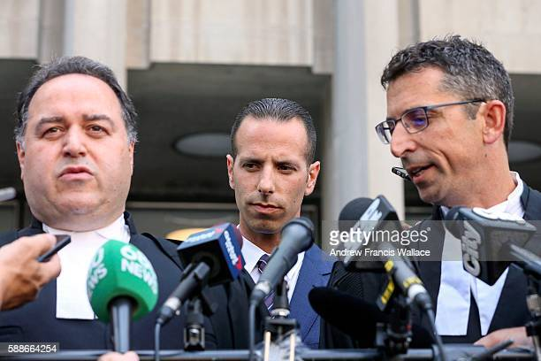TORONTO ON AUGUST 11 Alexander Sandro Lisi listen to his lawyers talk to media outside 361 University Avenue court August 11 2016 Lisi was cleared...