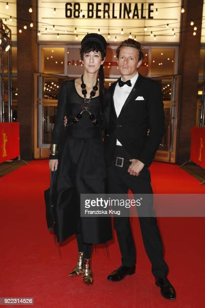 Alexander Scheer and girlfriend Esther Perbrandt attend the 'Partisan' premiere during the 68th Berlinale International Film Festival Berlin at Kino...