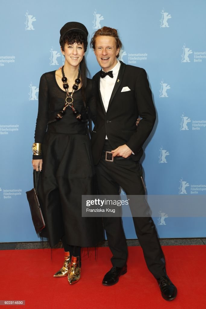 Alexander Scheer and girlfriend Esther Perbrandt attend the 'Partisan' premiere during the 68th Berlinale International Film Festival Berlin at Kino International on February 21, 2018 in Berlin, Germany.