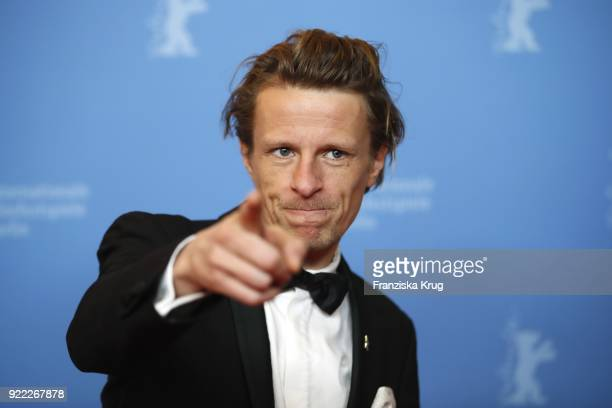 Alexander Scheer attends the 'Partisan' premiere during the 68th Berlinale International Film Festival Berlin at Kino International on February 21...