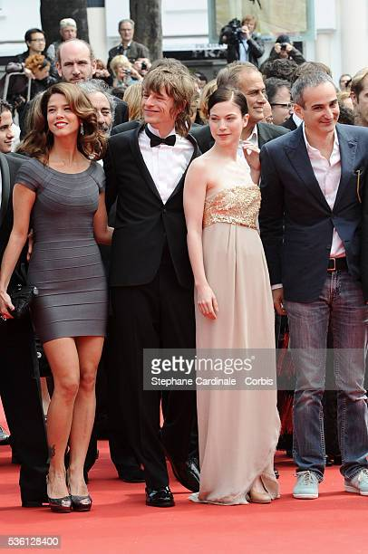Alexander Scheer Nora Von Waldstaetten and Olivier Assayas and a guest attend the 'Carlos' Premiere during the 63rd Cannes International Film Festival