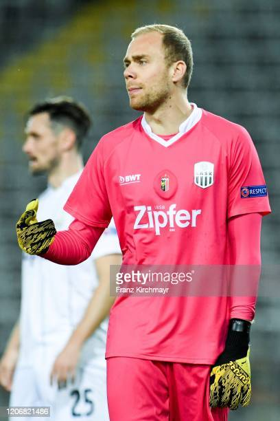 Alexander Schlager of LASK gestures during UEFA Europa League Round of 16 First Leg match between LASK and Manchester United at Stadion der Stadt...
