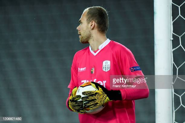 Alexander Schlager of LASK holds the ball during UEFA Europa League Round of 16 First Leg match between LASK and Manchester United at Stadion der...