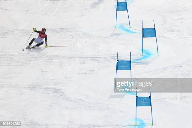 Alexander Schmid of Germany falls as he races during the Alpine Team Event on day 15 of the PyeongChang 2018 Winter Olympic Games at Yongpyong Alpine...