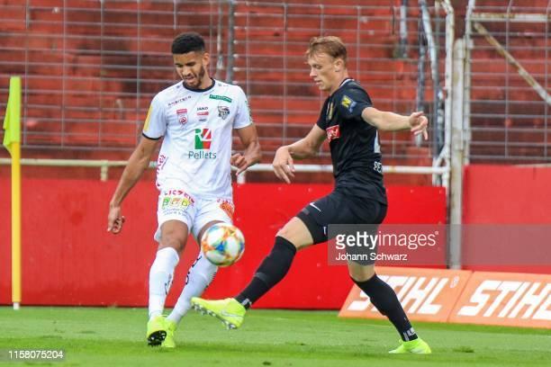 Alexander Schmidt of Wolfsberg and Pascal Petlach of Admira during tipico Bundesliga match between FC Flyeralarm Admira v RZ Pellets WAC at BSFZ...