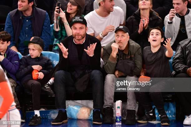 Alexander Schreiber Liev Schreiber Jon Stewart and Nathan Stewart attend New York Knicks Vs Minnesota Timberwolves game at Madison Square Garden on...