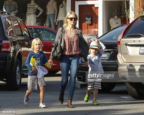 Alexander Schreiber, Naomi Watts and Samuel Schreiber are seen on January 11, 2014 in Los Angeles, California.