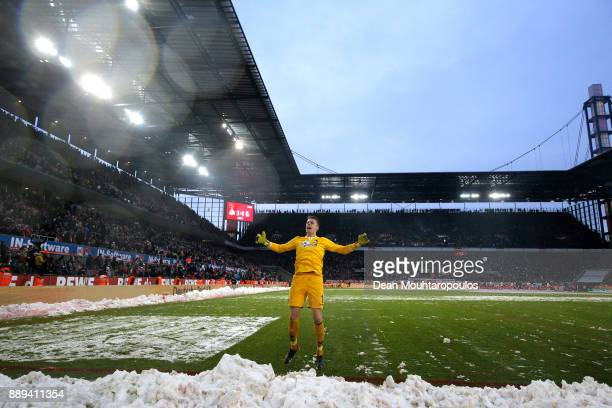 Alexander Schwolow of SC Freiburg celebrates after the Bundesliga match between 1 FC Koeln and SportClub Freiburg at RheinEnergieStadion on December...