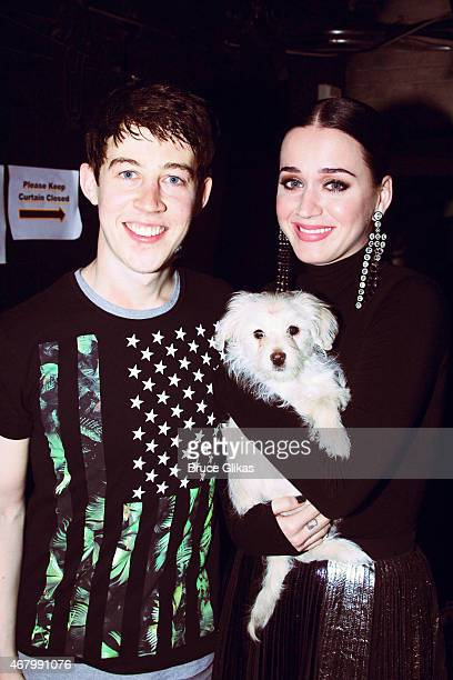 Alexander Sharp and Katy Perry pose with 'Bubba' backstage at the play 'The Curious Incident of the Dog in the NightTime' on Broadway at The...