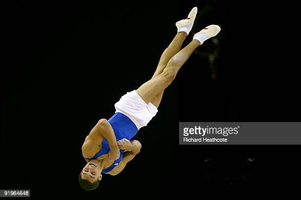 Alexander Shatilov of Israel competes in the floor exercise during the Apparatus Finals on the fifth day of the Artistic Gymnastics World...
