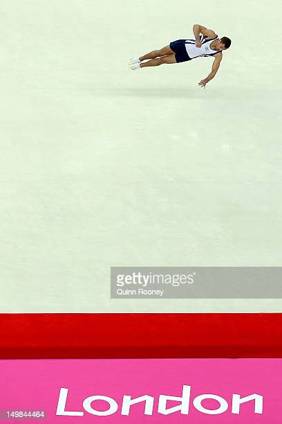 Alexander Shatilov of Israel competes on the floor in the Artistic Gymnastics Men's Floor Exercise final on Day 9 of the London 2012 Olympic Games at...
