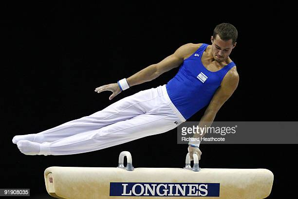 Alexander Shatilov of Israel competes on the pommel horse during the Men's All Round Final on the third day of the Artistic Gymnastics World...