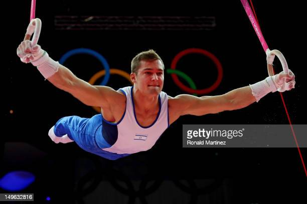 Alexander Shatilov of Israel competes on the rings in the Artistic Gymnastics Men's Individual AllAround final on Day 5 of the London 2012 Olympic...
