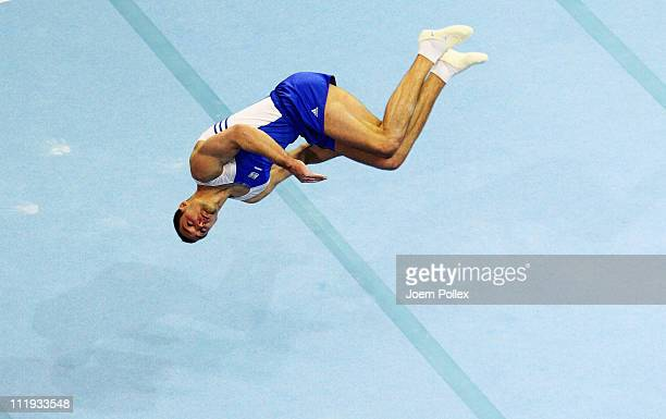 Alexander Shatilov of Israel performs on the floor during the European Championships Artistic Gymnastics Men's Apparatus Finals at MaxSchmeling Hall...