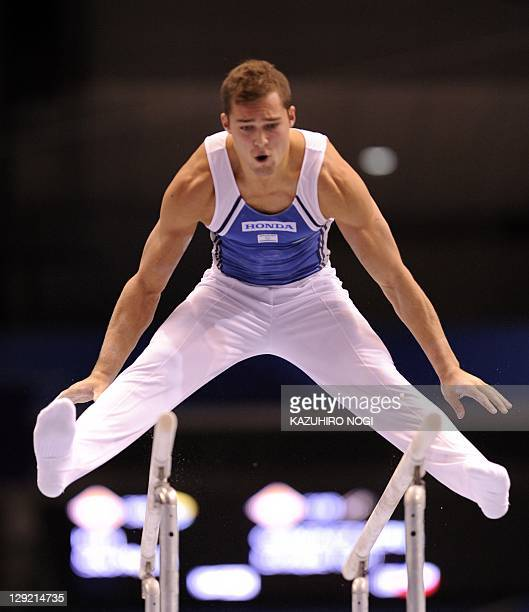 Alexander Shatilov of Israel performs on the parallel bars during men's individual allaround final of the World Gymnastics Championships in Tokyo on...