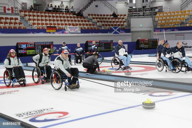Alexander Shevchenko from Russia delivers a stone during the World Wheelchair Curling Championship 2017 test event for PyeongChang 2018 Winter...