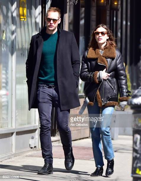 Alexander SkarsgArd and Alexa Chung are seen in Soho on March 22 2017 in New York City
