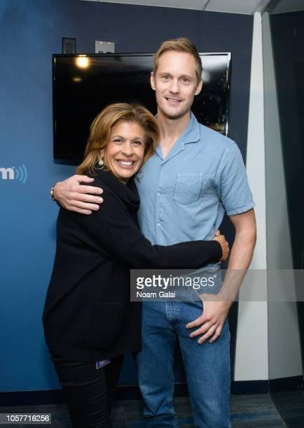 Alexander Skarsgard and Hoda Kotb pose for a photo at the SiriusXM Studios on November 5 2018 in New York City