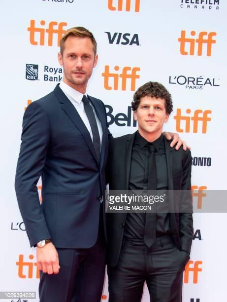 Alexander Skarsgard and Jesse Eisenberg attend the 'The Hummingbird Project' premiere during the Toronto International Film Festival on September 8...
