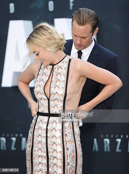 "Alexander Skarsgard and Margot Robbie attend the European premiere of ""The Legend Of Tarzan"" at Odeon Leicester Square on July 5, 2016 in London,..."