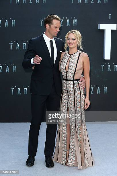Alexander Skarsgard and Margot Robbie attend the UK Premiere of 'The Legend of Tarzan' at Odeon Leicester Square on July 5 2016 in London England