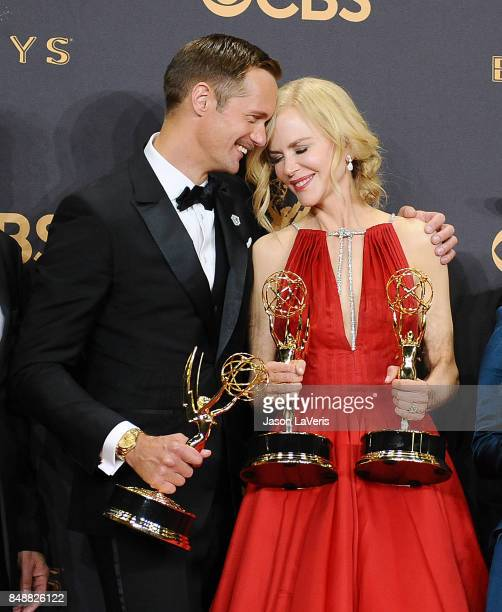 Alexander Skarsgard and Nicole Kidman pose in the press room at the 69th annual Primetime Emmy Awards at Microsoft Theater on September 17 2017 in...