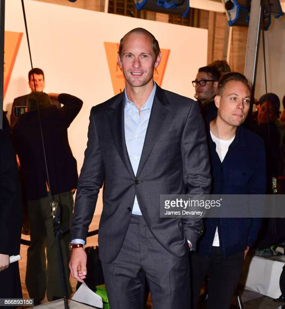Alexander Skarsgard arrives to the American Stock Exchange Building for the Volez Vogez Voyagez Louis Vuitton Exhibition Opening on October 26 2017...