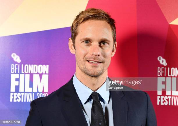 "Alexander Skarsgard attends the European Premiere of ""The Hummingbird Project"" at the 62nd BFI London Film Festival on October 13, 2018 in London,..."