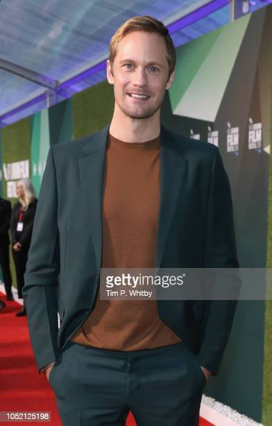 "Alexander Skarsgard attends the World Premiere of ""The Little Drummer Girl"" at the 62nd BFI London Film Festival on October 14, 2018 in London,..."