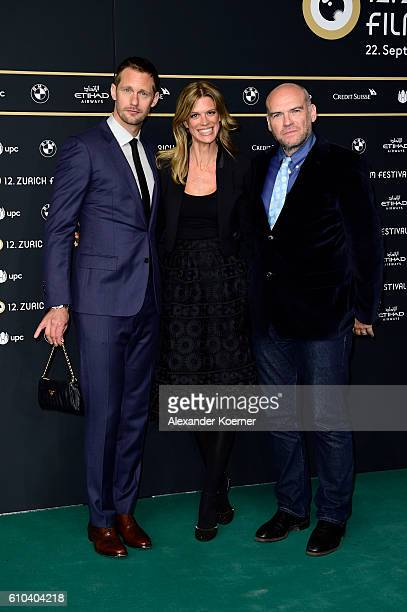 Alexander Skarsgard Festival director Nadja Schildknecht and John Michael McDonagh attend the 'War On Everyone' Premiere during the 12th Zurich Film...