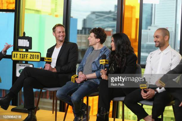 Alexander Skarsgard Jesse Eisenberg Salma Hayek and Michael Mando of 'The Hummingbird Project' attend The IMDb Studio presented By Land Rover At The...