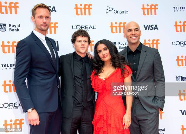 Alexander Skarsgard Jesse Eisenberg Salma Hayek Kim Nguyen and Michael Mando attend the 'The Hummingbird Project' premiere during the Toronto...