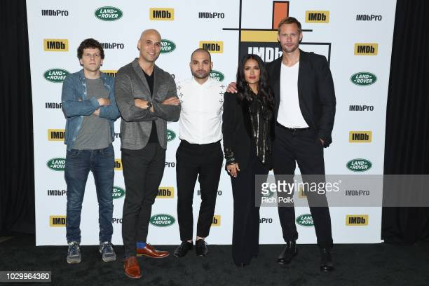 Alexander Skarsgard Jesse Eisenberg Salma Hayek Michael Mando and director Kim Nguyen of 'The Hummingbird Project' attend The IMDb Studio presented...
