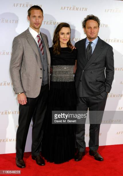 Alexander Skarsgard Keira Knightley and Jason Clarke attend the World Premiere of 'The Aftermath' at Picturehouse Central on February 18 2019 in...