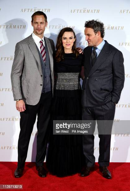 Alexander Skarsgard Keira Knightley and Jason Clarke attending the world premiere of The Aftermath held at the Picturehouse Central Cinema London