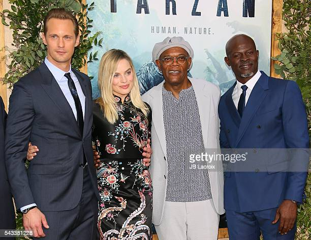 Alexander Skarsgard Margot Robbie Samuel L Jackson and Djimon Hounsou attend the premiere of Warner Bros Pictures' 'The Legend of Tarzan' on June 27...
